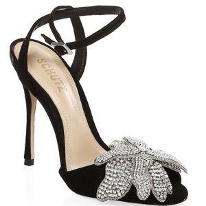Schutz Ayanne Black Suede Crystal Flower Heels